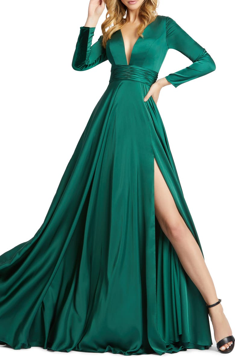IEENA FOR MAC DUGGAL Long Sleeve Satin A-Line Gown, Main, color, EMERALD