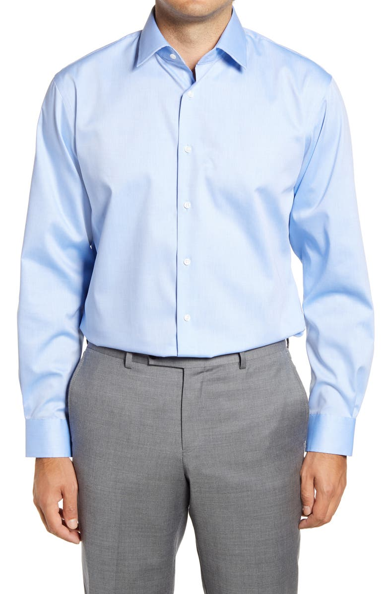NORDSTROM Traditional Fit Solid Non-Iron Dress Shirt, Main, color, BLUE AZURITE