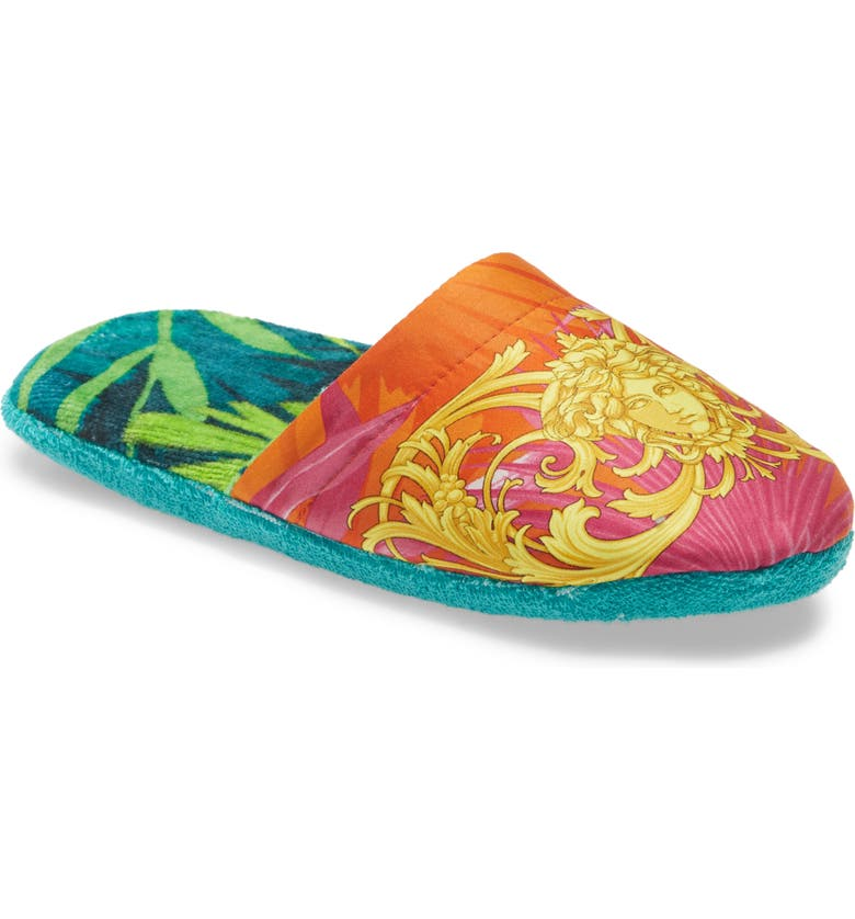 VERSACE Jungle Satin Slippers, Main, color, 392