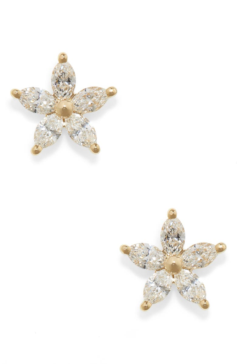 EF COLLECTION Marquise Diamond Flower Stud Earrings, Main, color, YELLOW GOLD/ DIAMOND