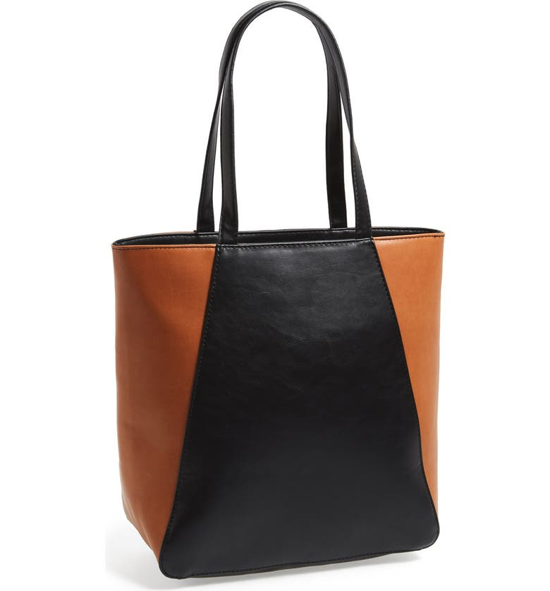 SOLE SOCIETY Faux Leather Tote, Main, color, BLACK/ COGNAC