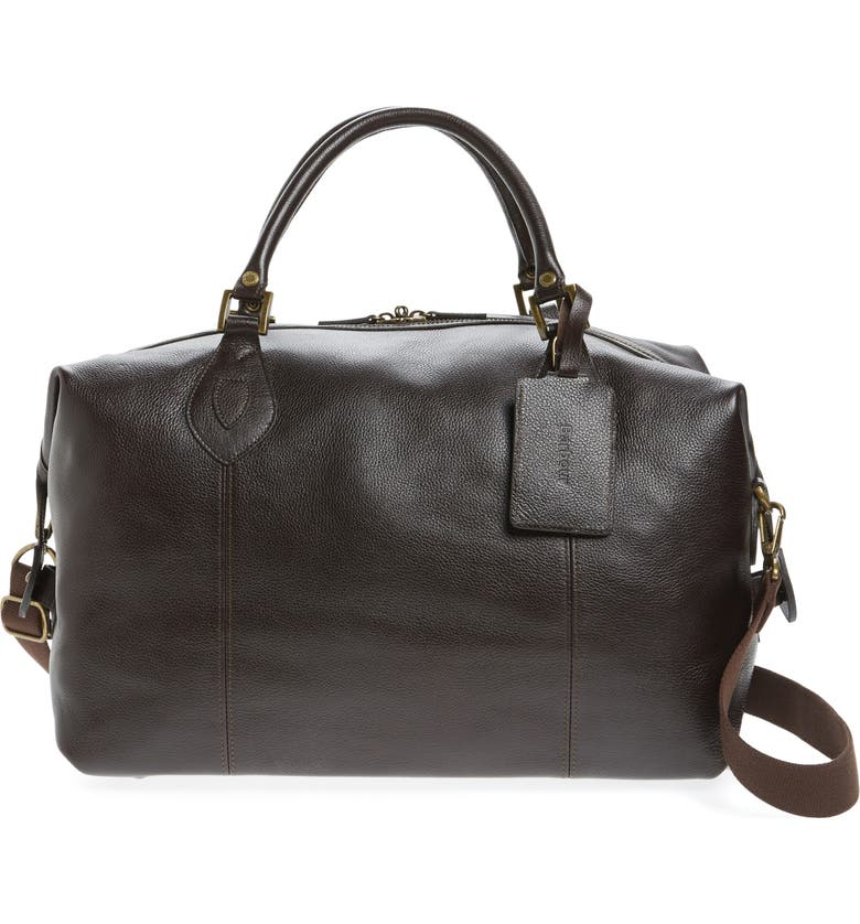 BARBOUR Leather Travel Bag, Main, color, CHOCOLATE