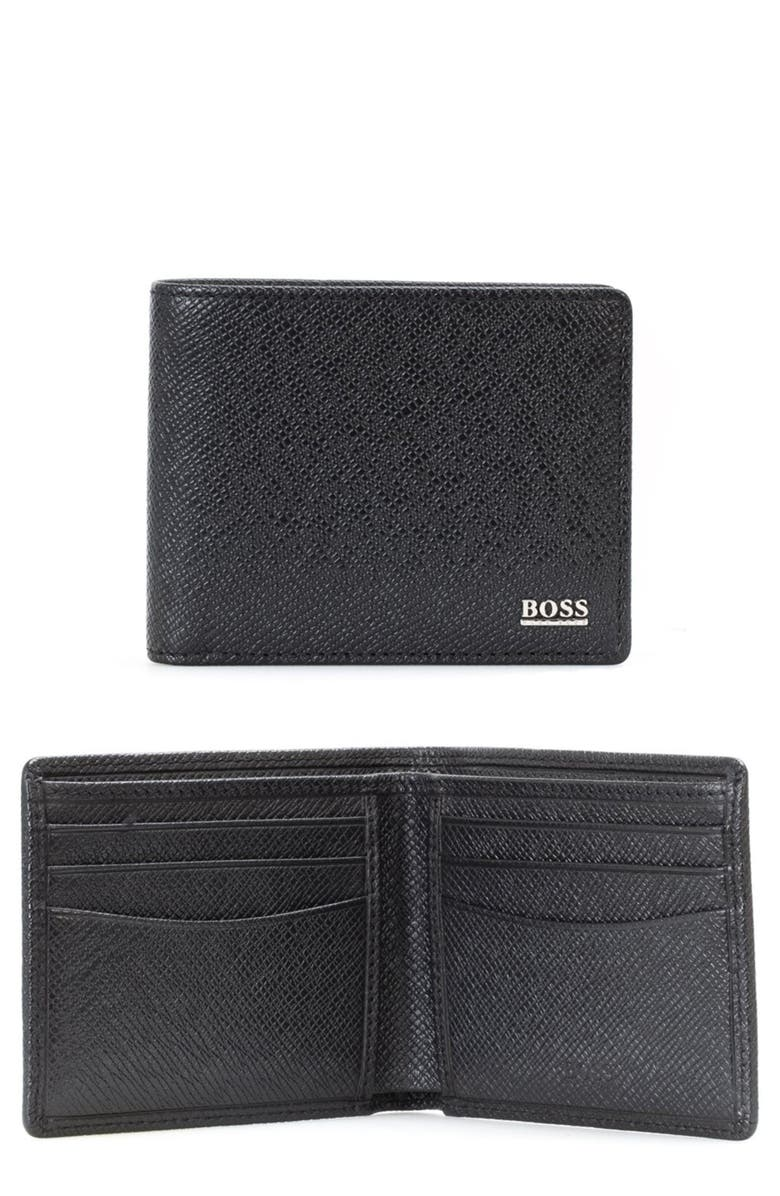 BOSS Signature RFID Leather Wallet, Main, color, BLACK