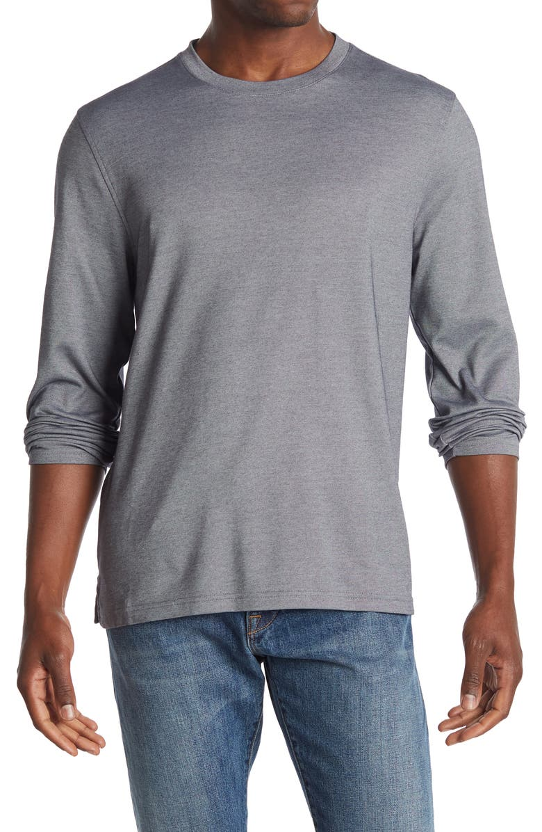 14TH AND UNION Performance Long Sleeve T-Shirt, Main, color, NAVY INDIA INK
