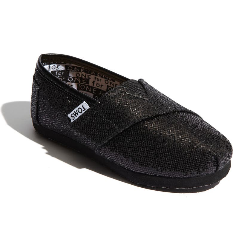 TOMS 'Classic Tiny - Glitter' Slip-On, Main, color, 001