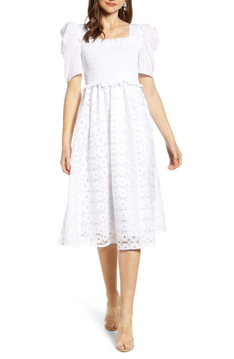 RACHEL PARCELL Smocked Waist A-Line Dress, Main, color, White