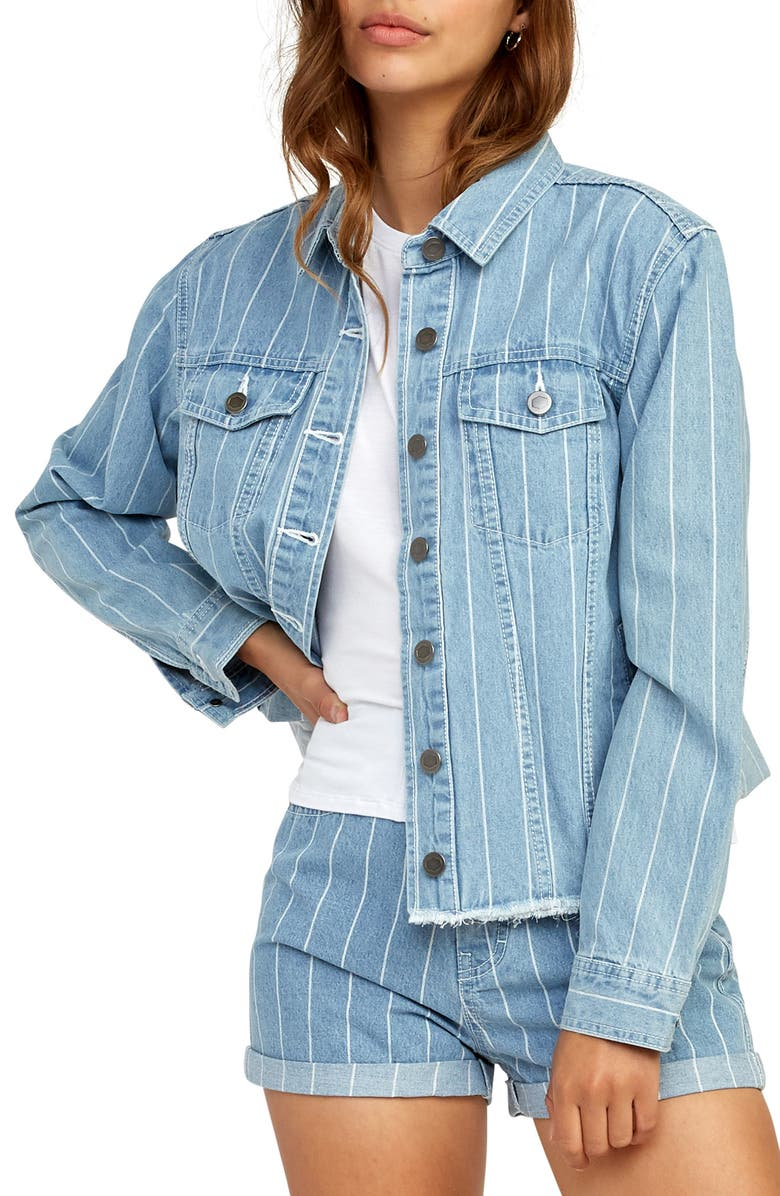 RVCA Pause It Denim Jacket, Main, color, WASHED STRIPE