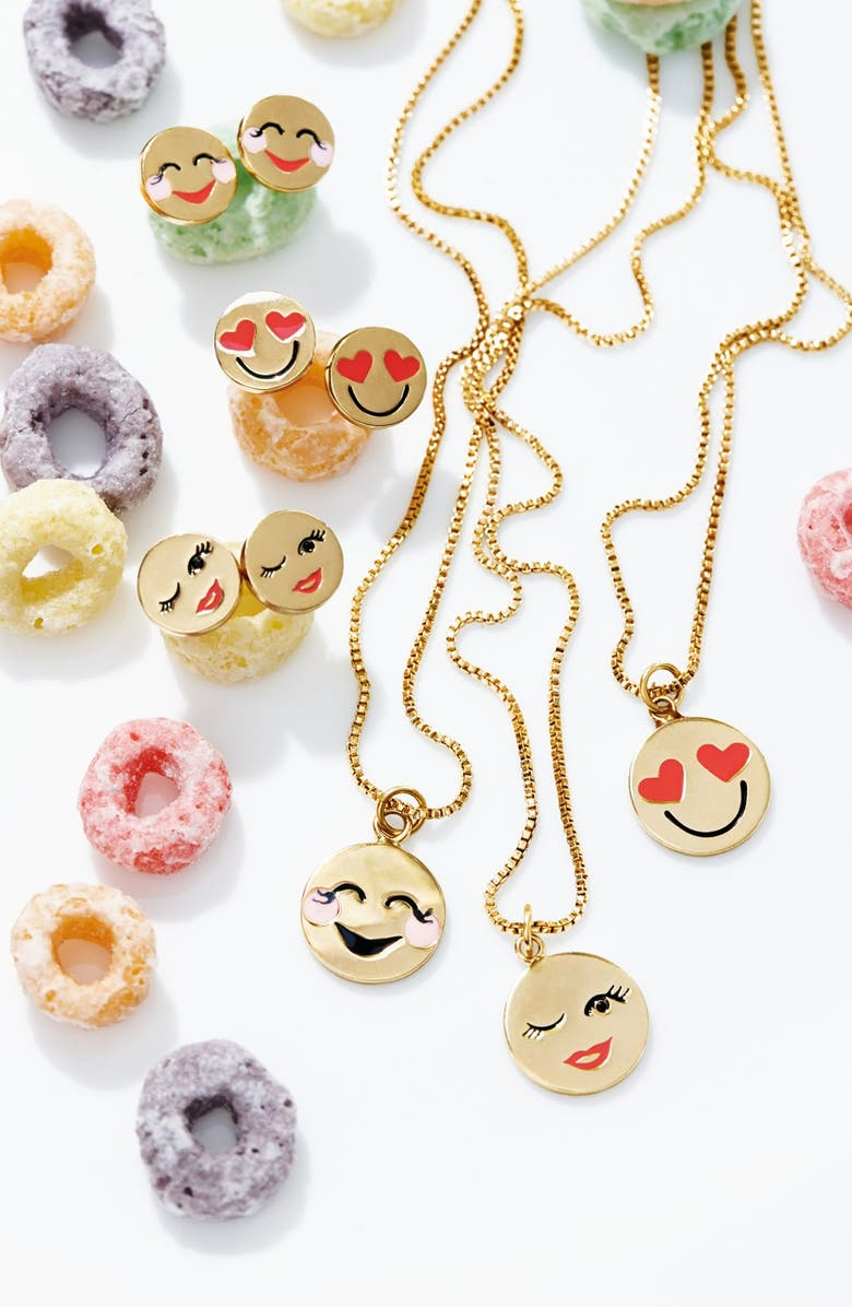 KATE SPADE NEW YORK 'tell all' emoji pendant necklace, Main, color, GOLD- SUNGLASSES DNU