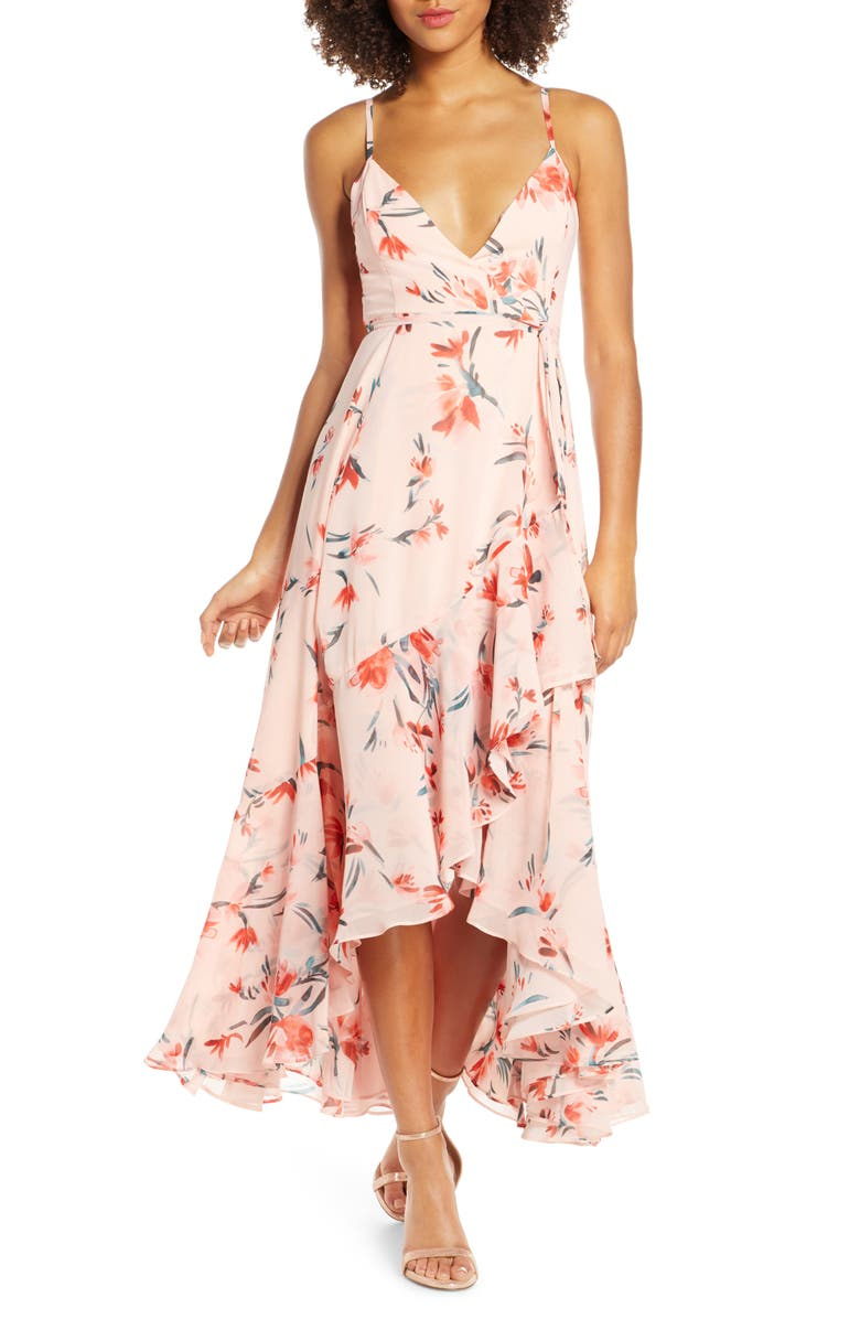 FAME AND PARTNERS The Rosalia High/Low Wrap Dress, Main, color, 840