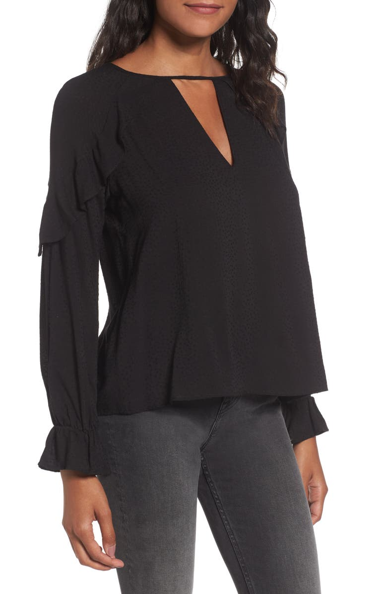 --- Textured Ruffle Blouse, Main, color, 001
