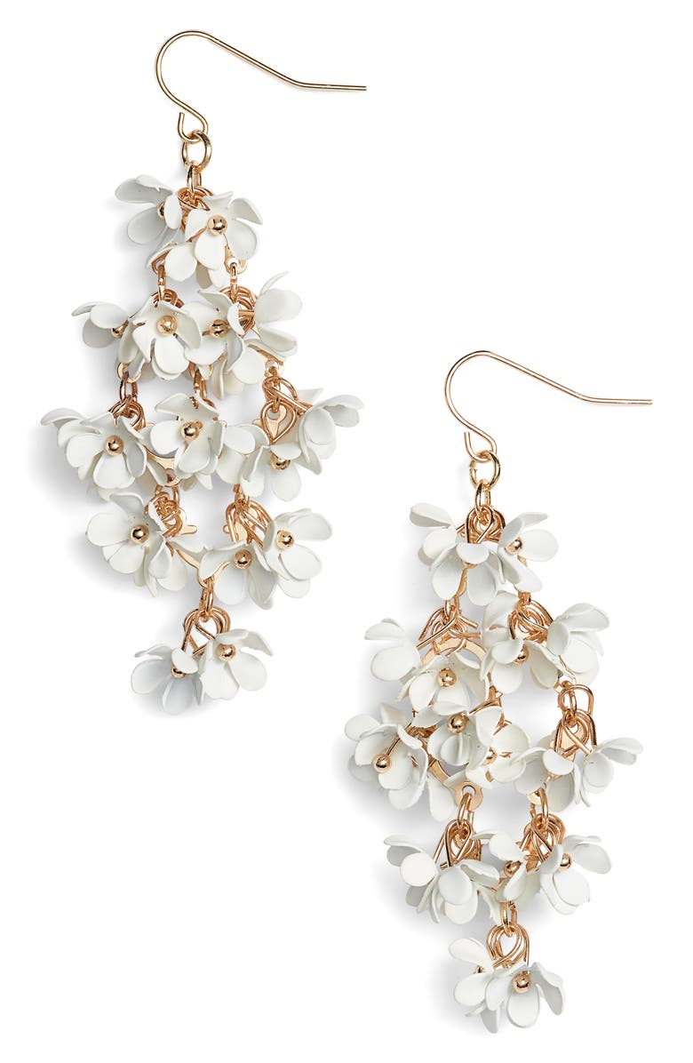HALOGEN<SUP>®</SUP> Floral Bouquet Drop Earrings, Main, color, 100