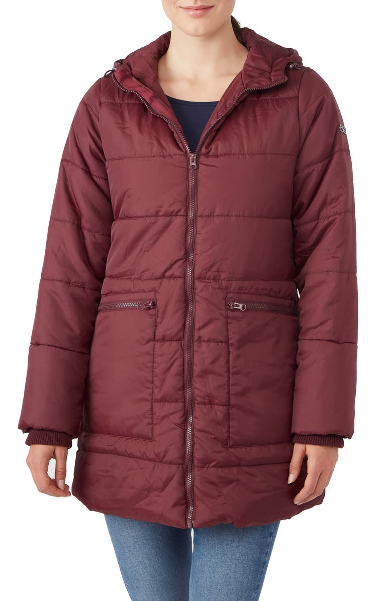 MODERN ETERNITY 3-in-1 Hybrid Quilted Waterproof Maternity Puffer Coat, Main, color, BURGUNDY