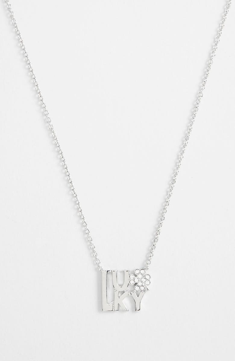 ARIELLA COLLECTION 'Messages - Lucky' Pendant Necklace, Main, color, 040