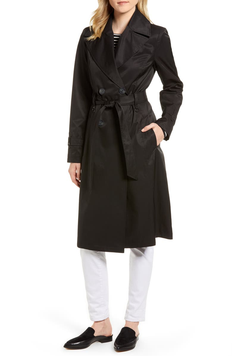 VIA SPIGA Double Breasted Trench Coat, Main, color, 001
