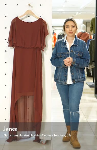 Flutter Sleeve High/Low Chiffon Gown, sales video thumbnail
