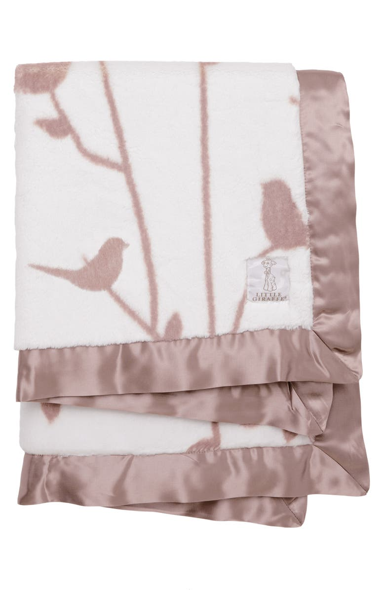 LITTLE GIRAFFE Birdsong Satin Trim Blanket, Main, color, DUSTY PINK