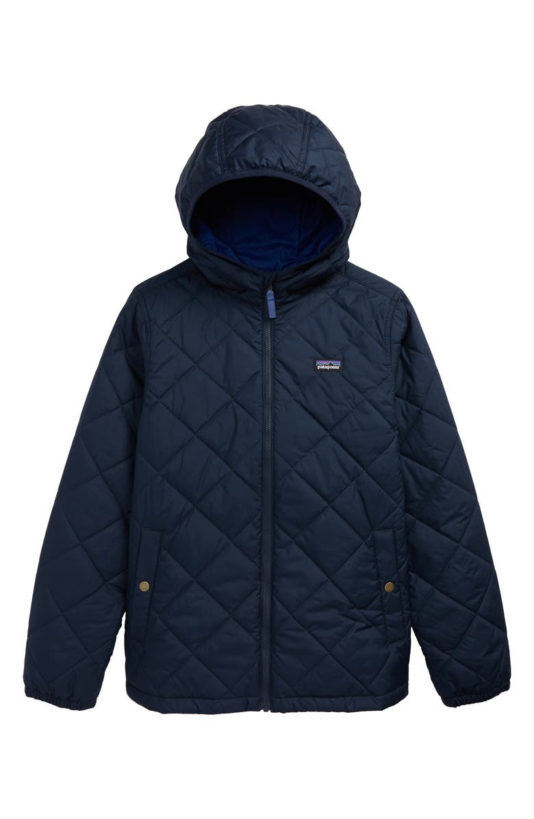 PATAGONIA Kids' Diamond Quilt Water Repellent Hoodie Jacket, Main, color, NEW NAVY-NENA