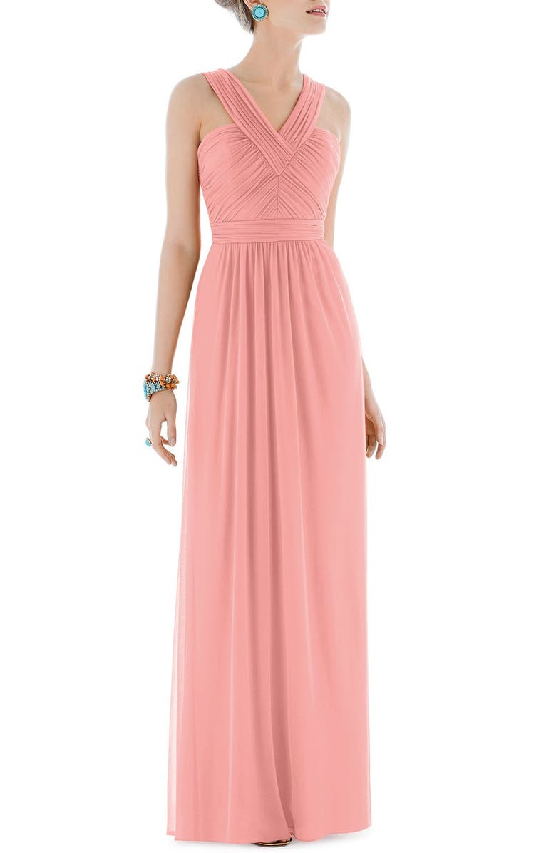 ALFRED SUNG Shirred Chiffon V-Neck Gown, Main, color, 633