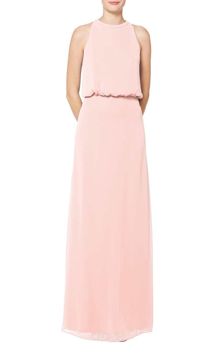 #LEVKOFF Halter Neck Blouson Bodice Chiffon Evening Gown, Main, color, PETAL PINK