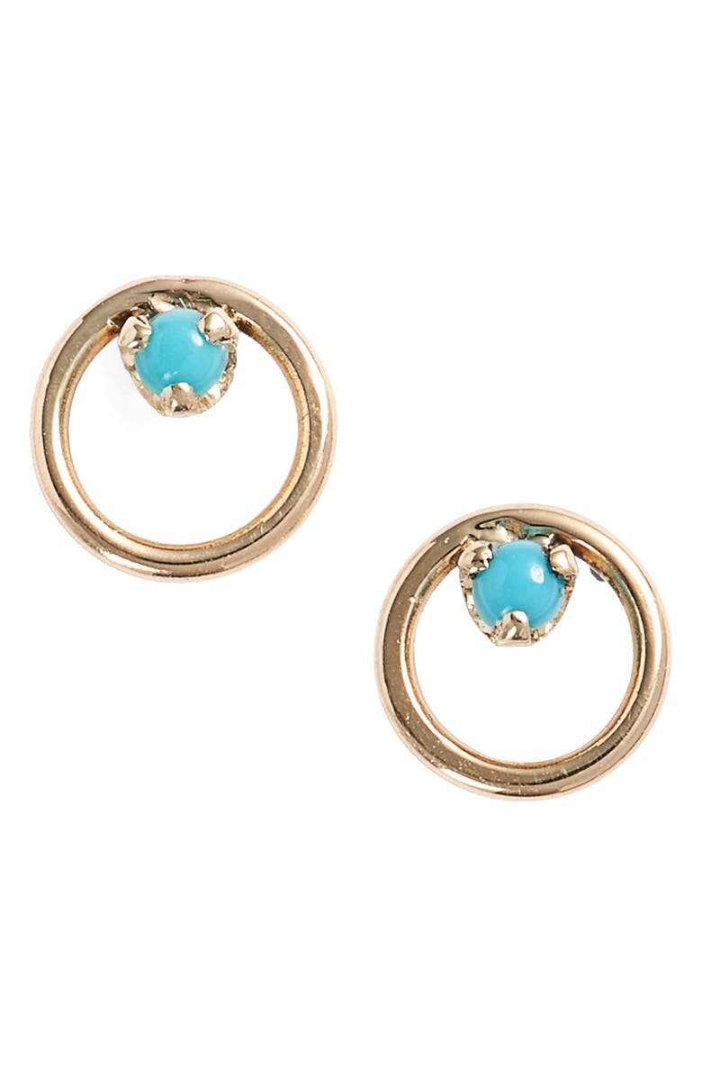 ZOË CHICCO Turquoise Circle Stud Earrings, Main, color, 710