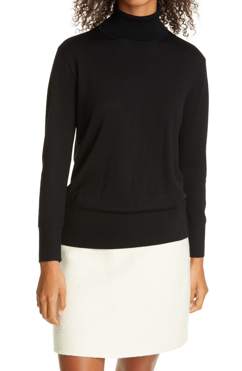 CLUB MONACO Essential Turtleneck Wool Sweater, Main, color, BLACK