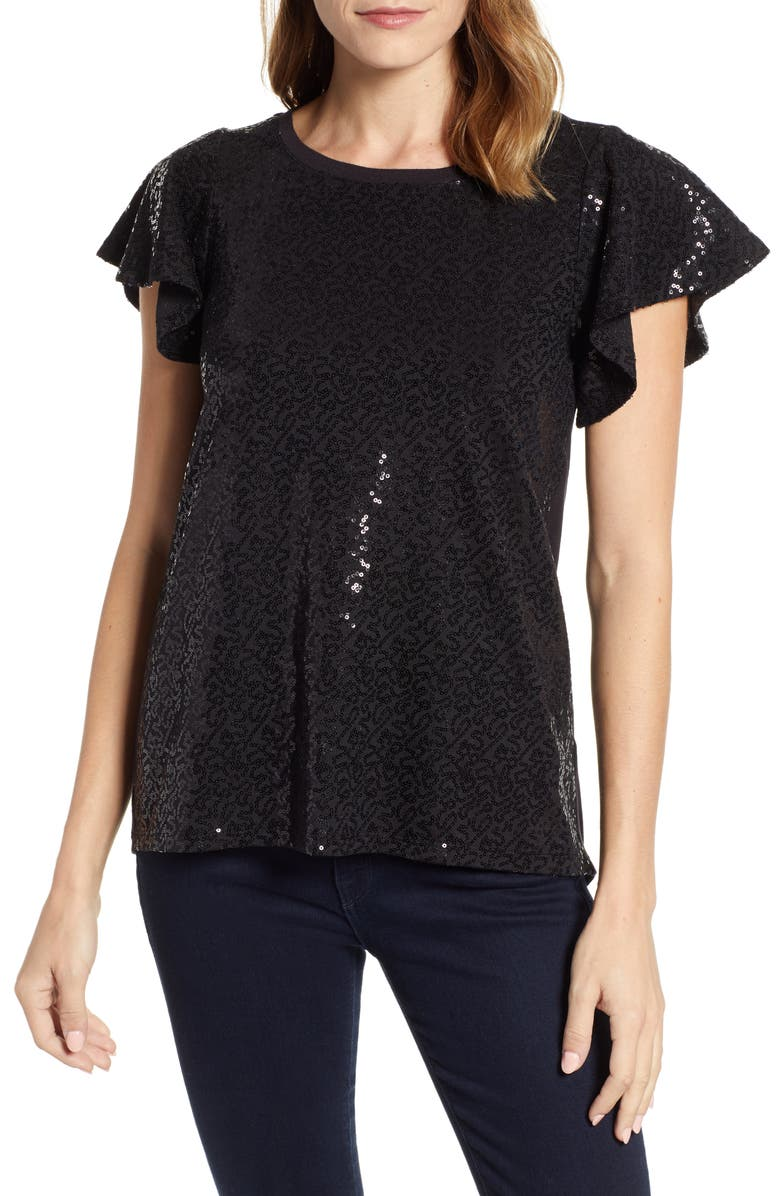 GIBSONLOOK Gibson x Glam Squad Sequin Flutter Sleeve Top, Main, color, 001