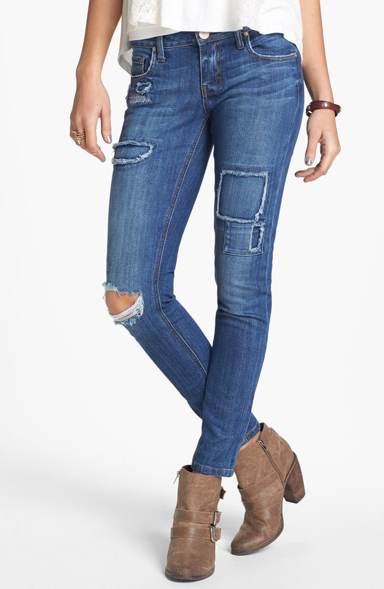STS BLUE Destroyed Patchwork Skinny Jeans, Main, color, 400
