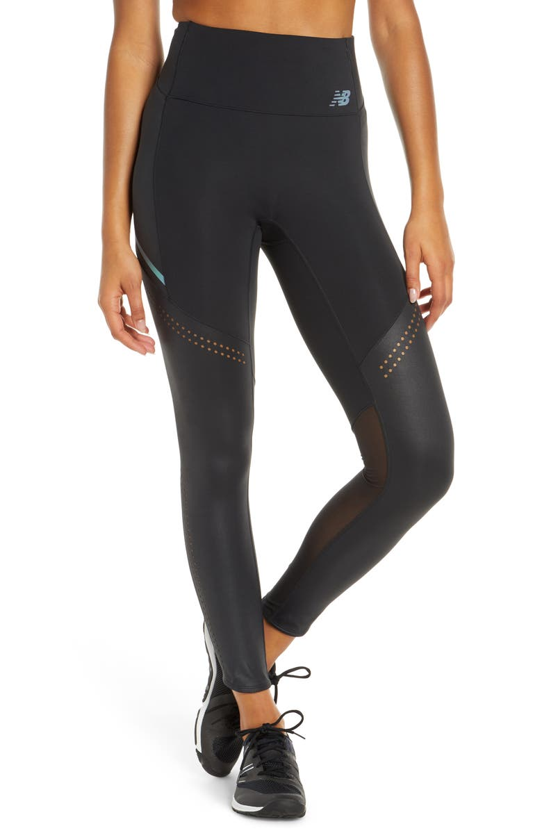 NEW BALANCE Q Speed Run Crew Tights, Main, color, BLACK