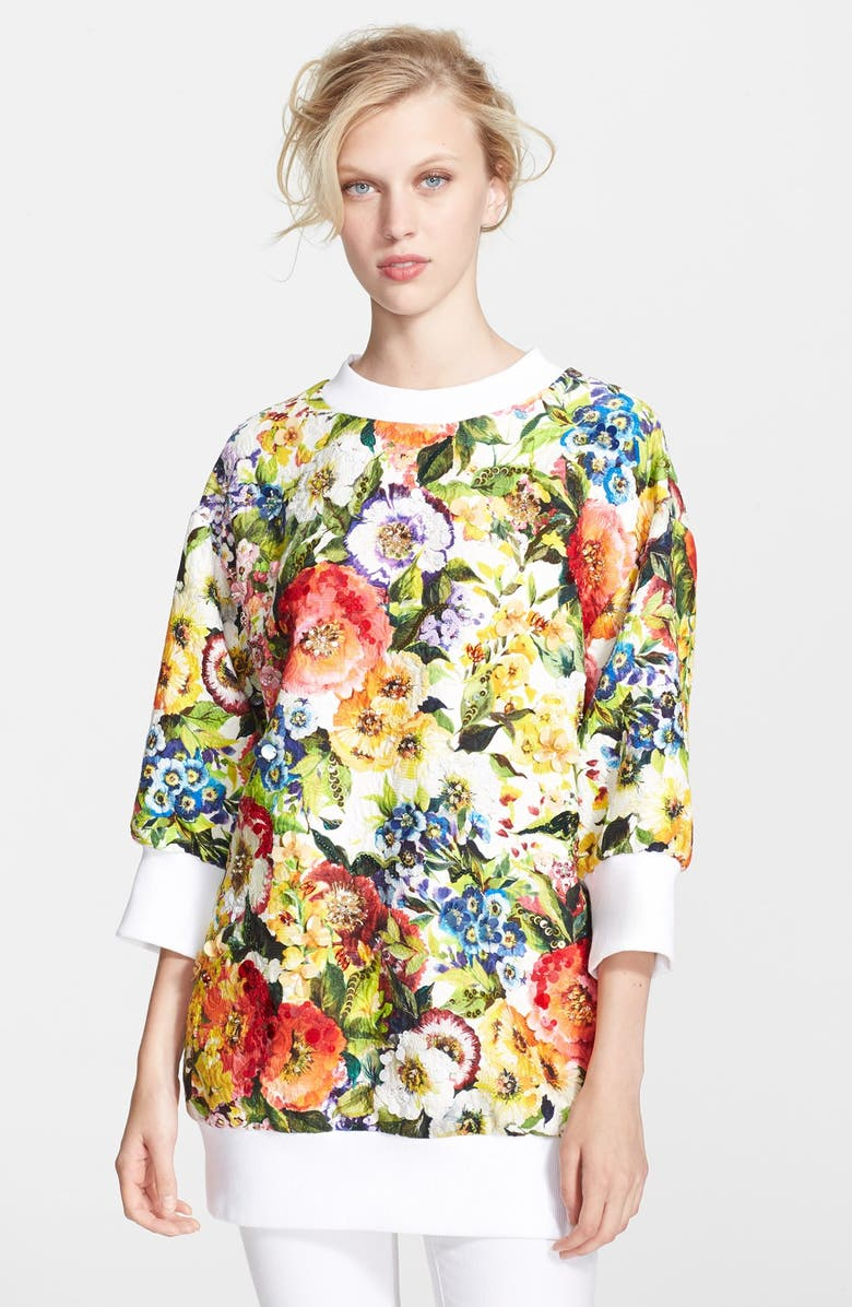 DOLCE&GABBANA Floral Print Oversized Sweatshirt, Main, color, 101