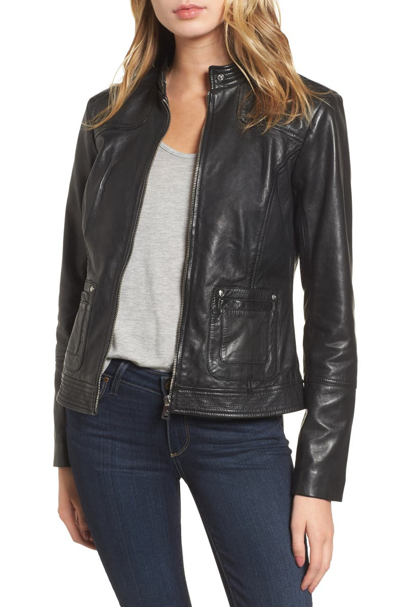 BERNARDO Leather Moto Jacket, Main, color, 001