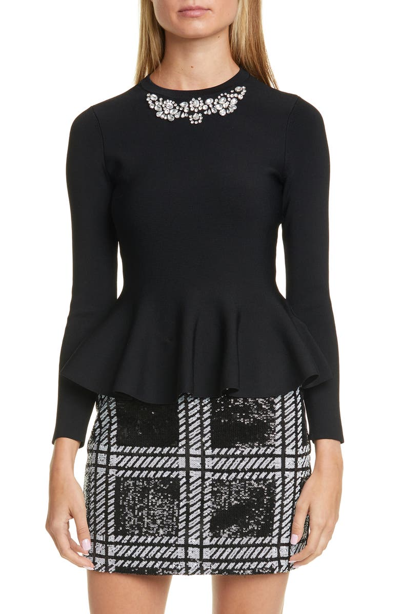 TED BAKER LONDON Embellished Peplum Sweater, Main, color, 001