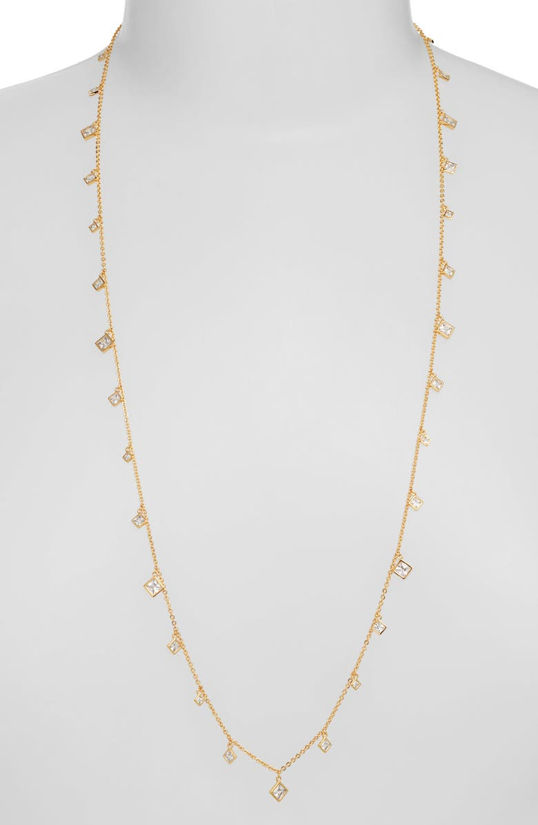 NORDSTROM Cubic Zirconia Shaky Charm Necklace, Main, color, CLEAR- GOLD