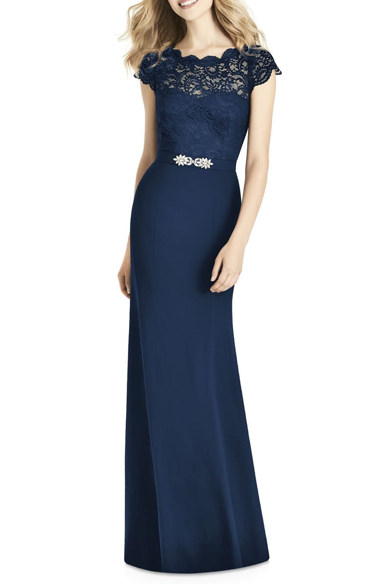 JENNY PACKHAM Lace & Crepe Column Gown, Main, color, MIDNIGHT