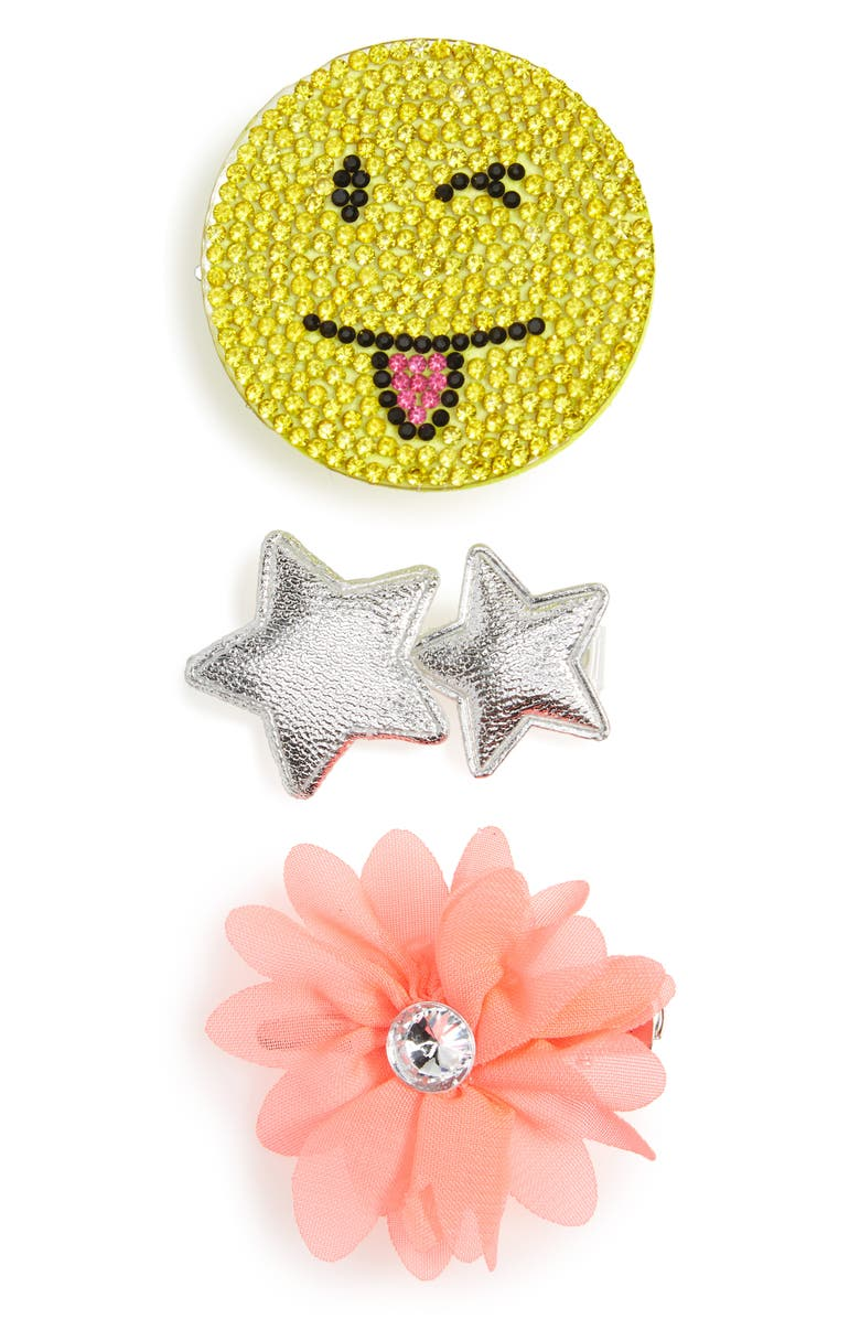CAPELLI NEW YORK Emoji & Star 3-Pack Hair Clips, Main, color, 650