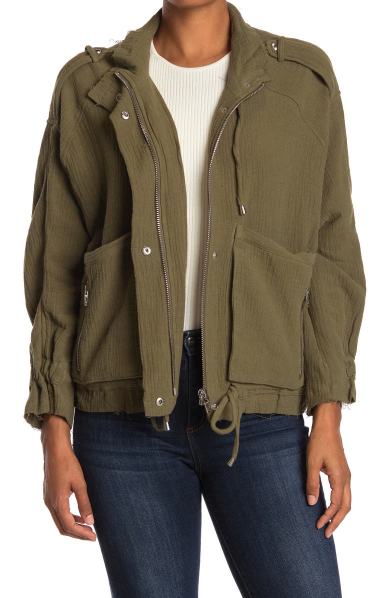 BLANKNYC Cotton Voile Gauze Jacket, Main, color, OLIVE