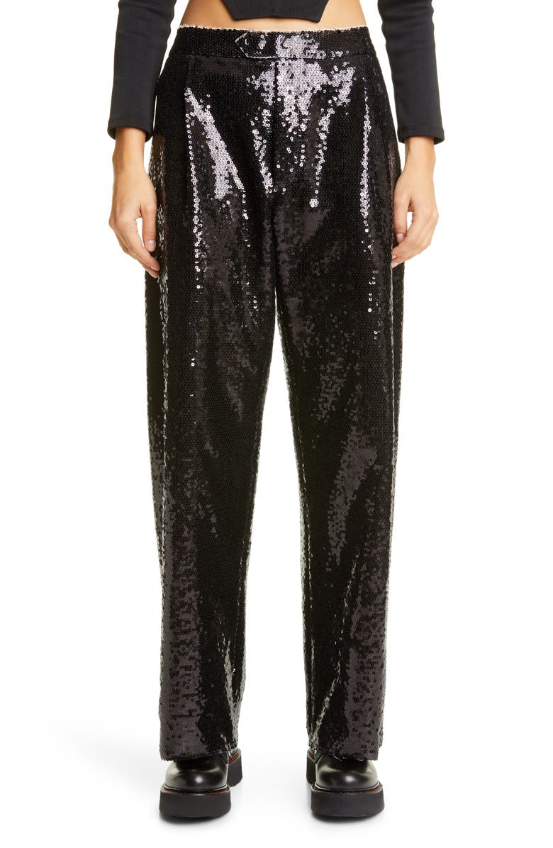 VAQUERA Sequin Trousers, Main, color, Black