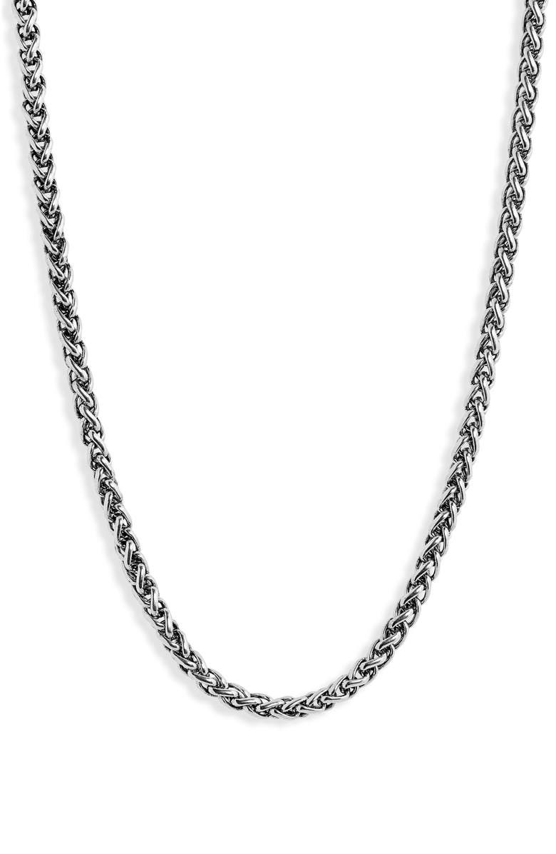 NORDSTROM Wheat Chain Necklace, Main, color, SILVER