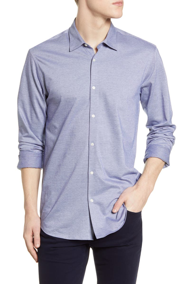 SCOTCH AND SODA Slim Fit Knit Button-Up Shirt, Main, color, BLUE