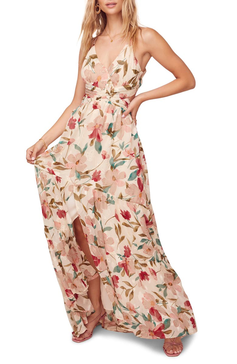 ASTR THE LABEL Sleeveless Floral Print Maxi Dress, Main, color, CREAM-RUBY FLORAL