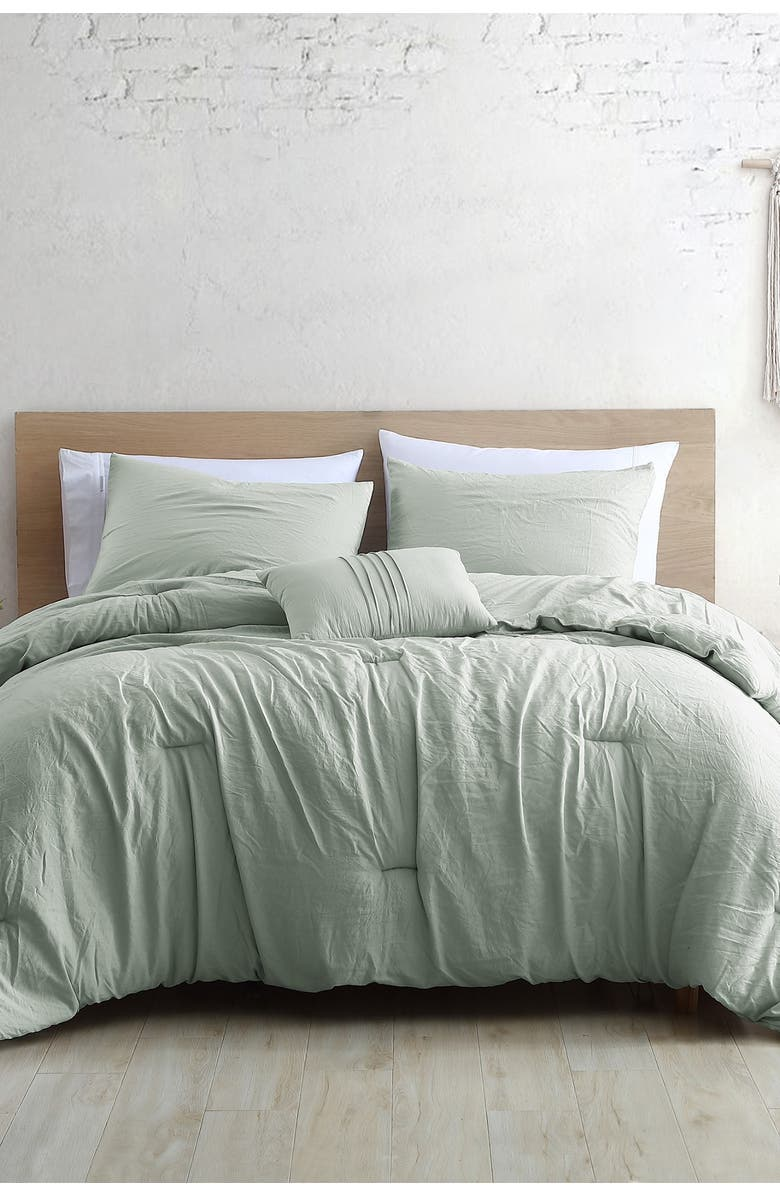 MODERN THREADS 4-Piece Garment-Washed Comforter Set - Beck Spa - Queen, Main, color, SPA