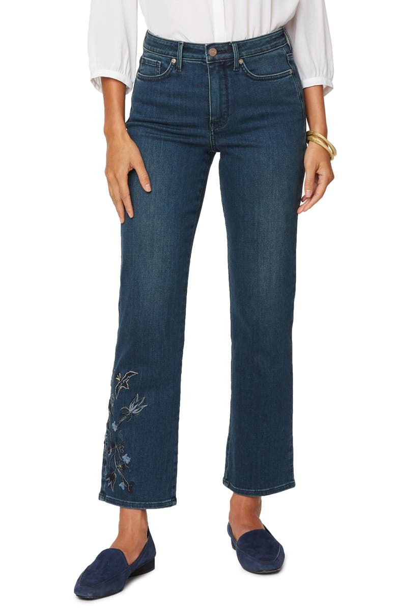 NYDJ Embroidered Relaxed Ankle Straight Leg Jeans, Main, color, CLEAN REVERENCE
