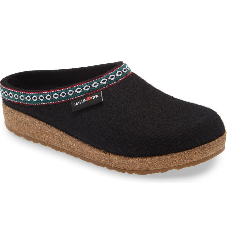 HAFLINGER 'Classic Grizzly' Slipper, Main, color, BLACK WOOL