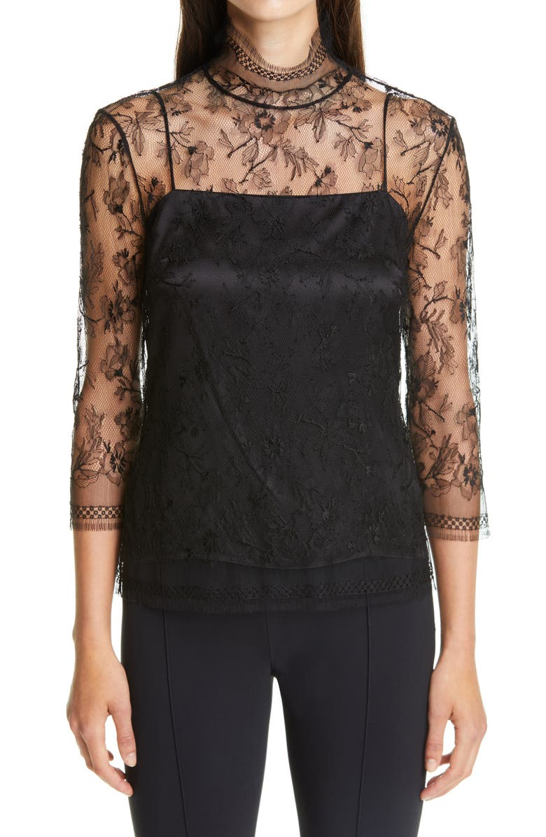 ADAM LIPPES Layered Chantilly Lace Blouse, Main, color, BLACK