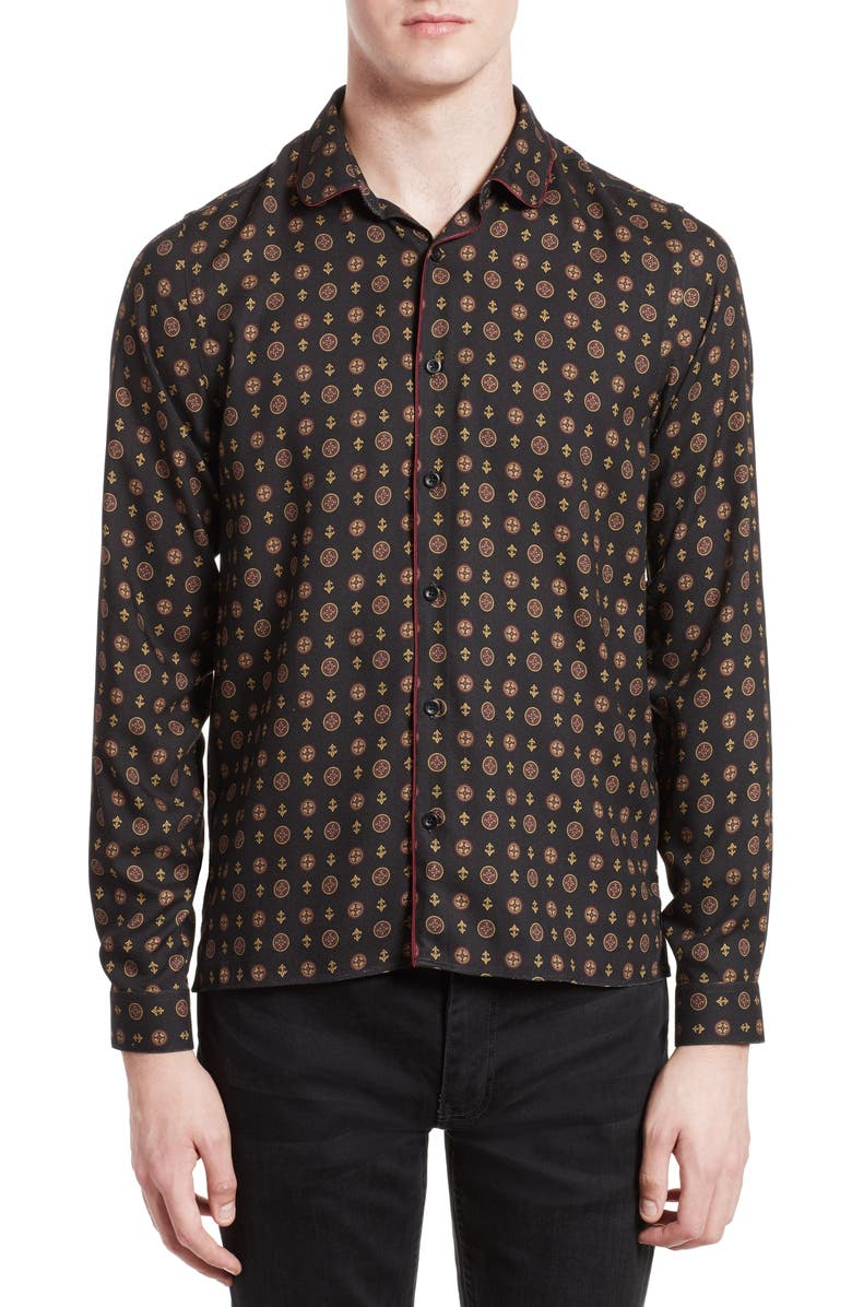 THE KOOPLES Piped Print Sport Shirt, Main, color, 001