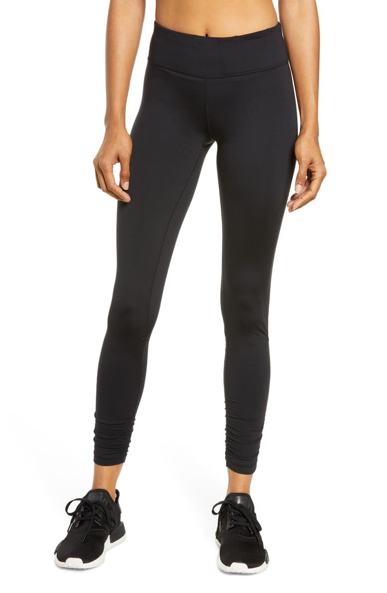 SWEATY BETTY All Day Ruched Hem 7/8 Leggings, Main, color, BLACK