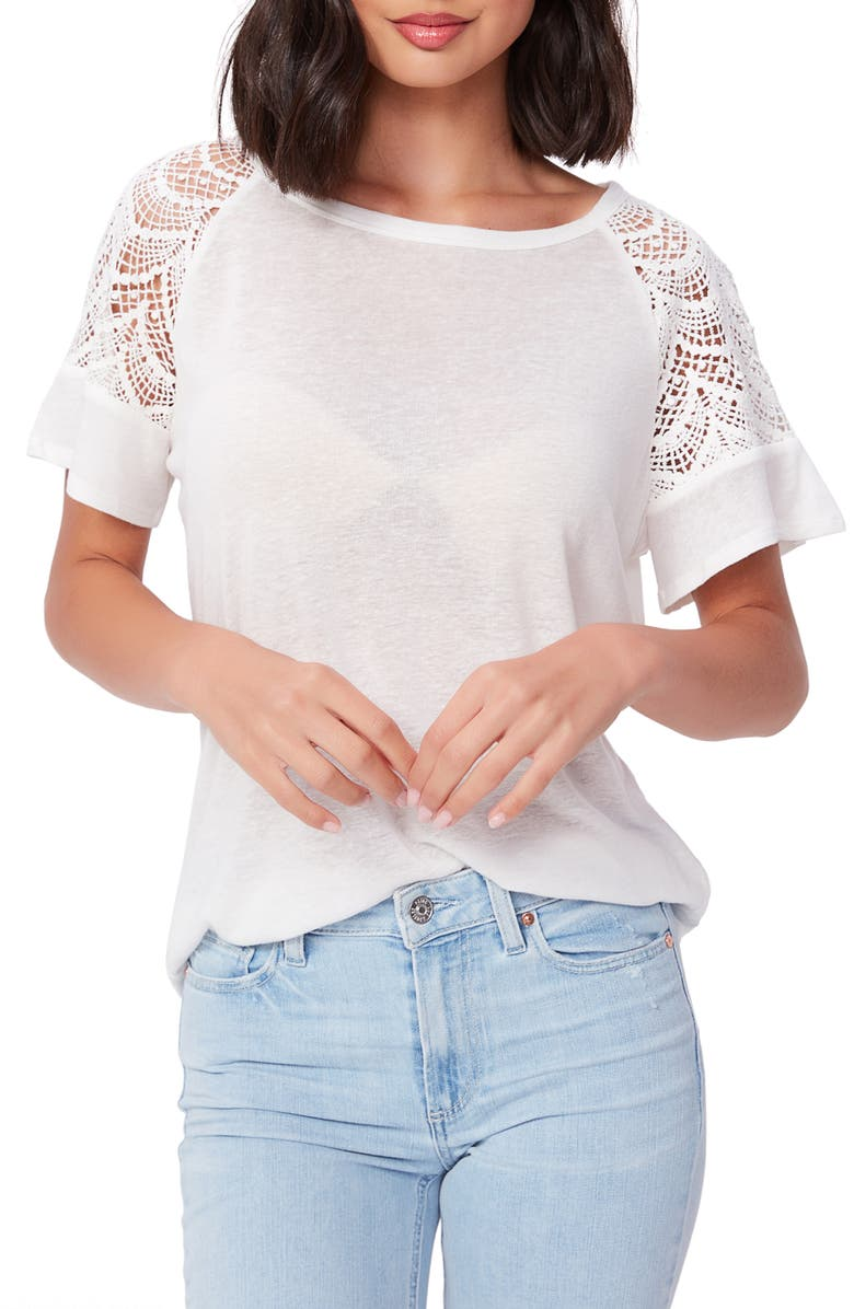 PAIGE Finley Crochet Lace Sleeve Top, Main, color, IVORY