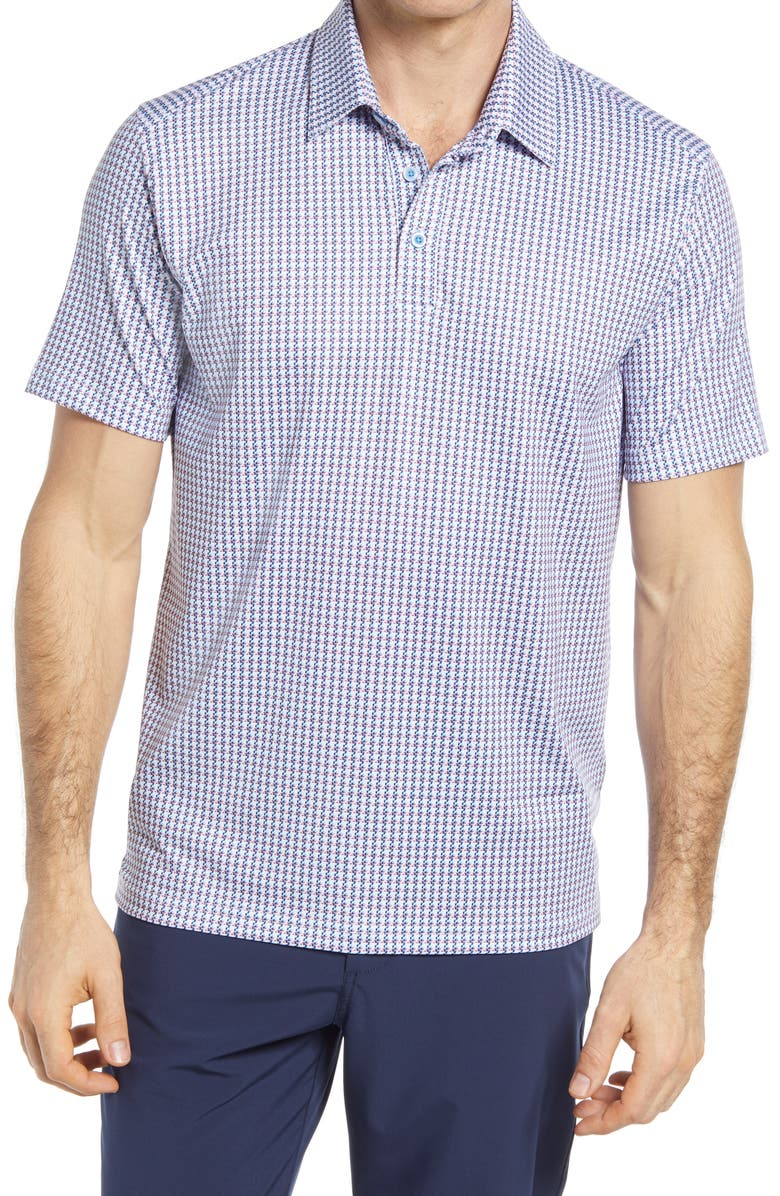 JOHNSTON & MURPHY XC4 Digital Houndstooth Performance Polo, Main, color, RED/ BLUE