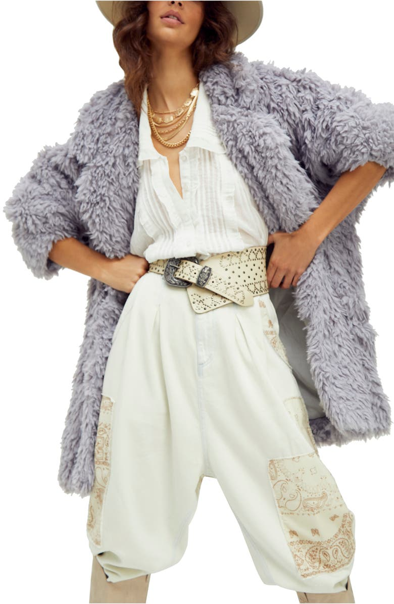 FREE PEOPLE Honeypie Teddy Jacket, Main, color, DUSTY LAVENDER