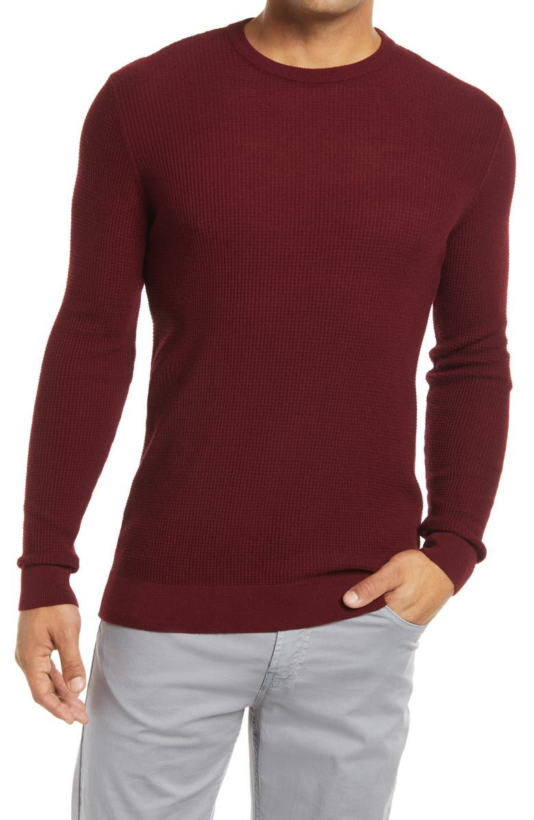 STONE ROSE Waffle Knit Sweater, Main, color, BURGUNDY