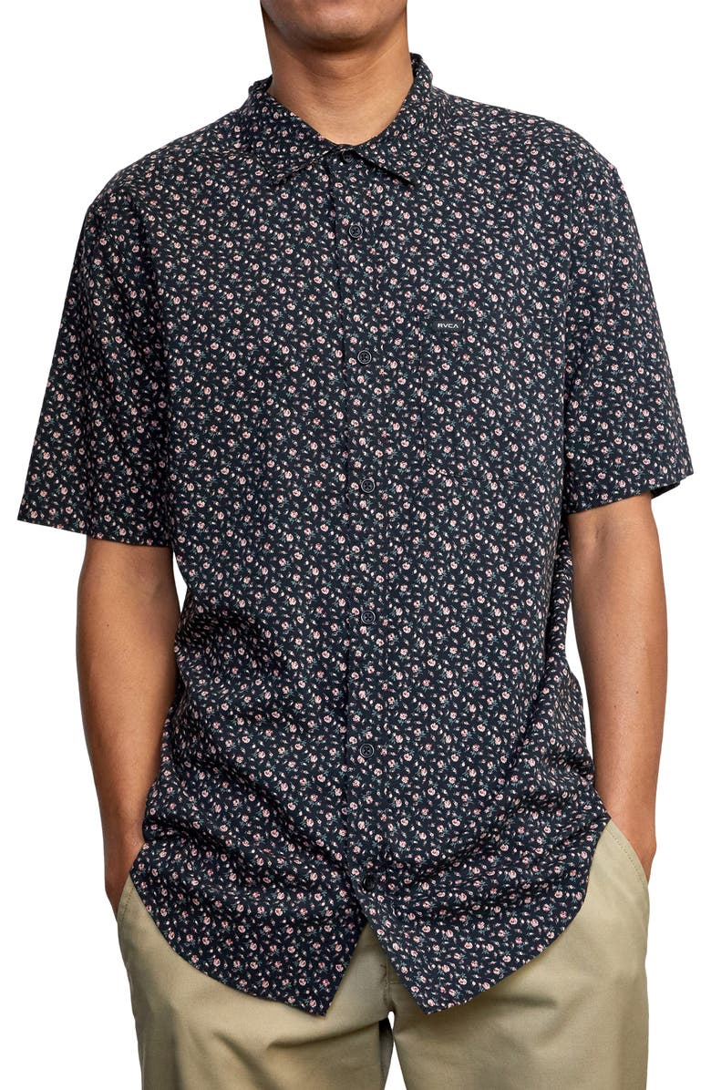 RVCA Solomon Floral Short Sleeve Button-Up Shirt, Main, color, BLACK